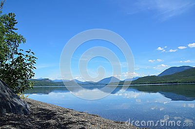 Remote beach on a remote lake