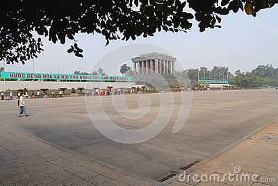 View to the Ba Dinh square and Mausoleum of Ho Chi Minh with tourists heading for the excurtion in Hanoi, Vietnam.