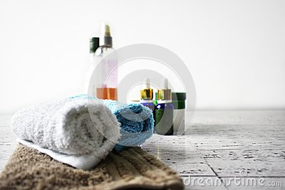 Spa concept towels oils body scrub pamper beauty wellness hygiene