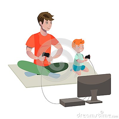 Father and son playing video game.