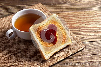 Toasted bread with jam and tea
