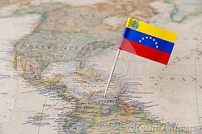 Venezuela flag pin on map