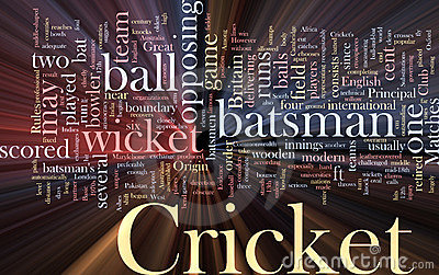 Cricket word cloud glowing