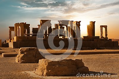 Sunrise in Persepolis, capital of the ancient Achaemenid kingdom. Ancient columns. Sight of Iran. Ancient Persia.