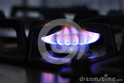 Gas stove burner closeup