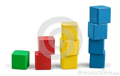 Toy wooden blocks stack, tower of blank multicolor