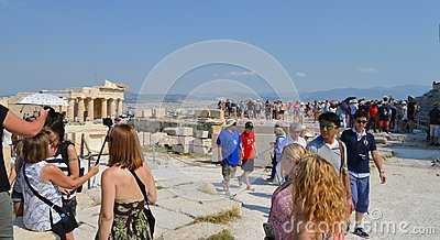 Crowd and unsafety going to Acropolis in Athens, Greece on June 16, 2017.