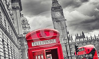 London symbols with big ben, double decker bus and red phone boo