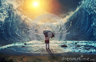 Large waves and woman