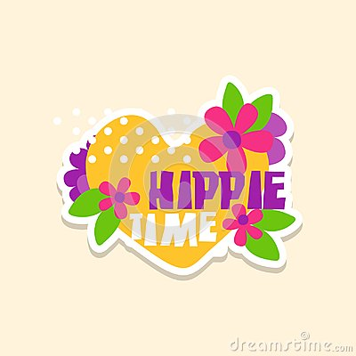 Creative text Hippie Time with heart and flowers, cute sticker in bright colors, fashion patch, badge in cartoon style