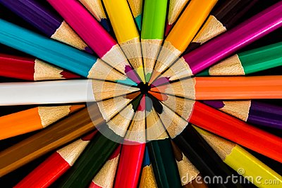 Colored Pencils in a symmetrical Pattern Abstract