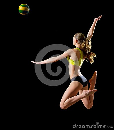 Woman beach volleyball player isolated version with ball