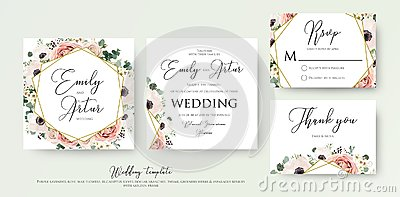 Floral Wedding Invitation elegant invite, thank you, rsvp card v