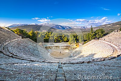 The ancient theater of Epidaurus or `Epidavros`, Argolida prefecture, Peloponnese.