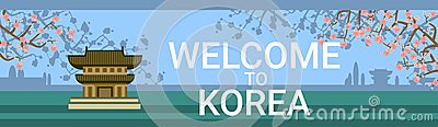 Welcome To Korea Poster With Traditional Temple Or Palace Over Blooming Sakura Tree Background