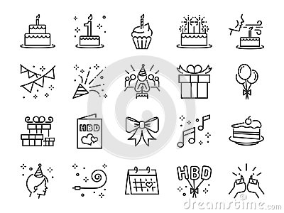 Happy Birthday Party line icon set. Included the icons as celebration, anniversary, party, congratulation, cake, gift, decoration