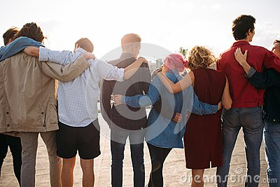Group diverse people unity support friendship back