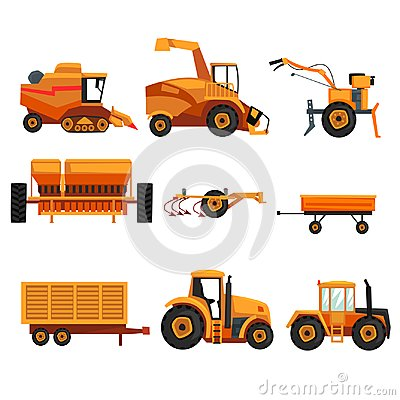 Set with different heavy machinery used in agriculture industry. Farm vehicle. Tractor, trailer, crawler, combine