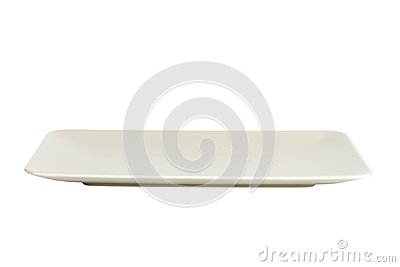 Long matte rectangular plate isolated on white background