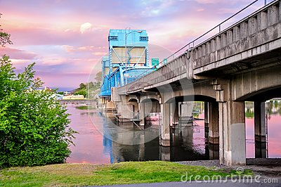 Lewiston - Clarkston blue bridge against sky with pink clouds on the border of Idaho and Washington states