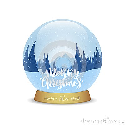 Merry Christmas and Happy New Year. Snow globe with winter mountains landscape isolated on white background.