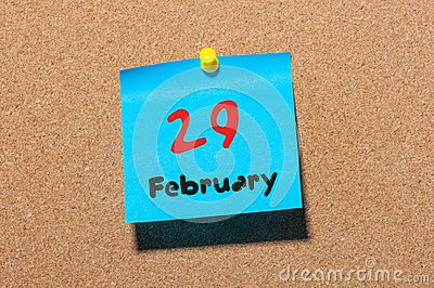 February 29th. Calendar for februar 29 on cork notice board background. empty space. Leap year, intercalary day