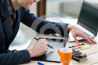 stock image of colorist graphic tablet creative design innovation
