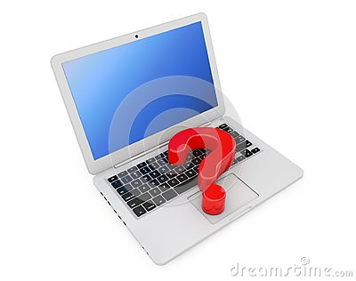 Computer Online Help Information Concept. Red Question Mark over