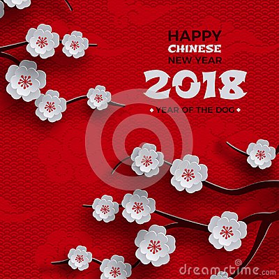 2018 chinese new year poster, red background with traditional sakura cherry flowers on tree branches, clouds