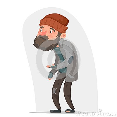 Homeless Poor Male Character Beg Help Money Hand Isolated Icon Cartoon Design Vector Illustration