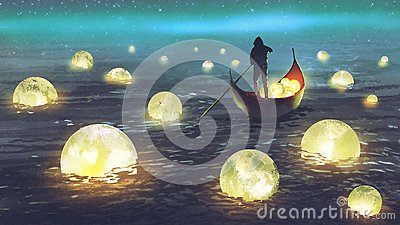Man harvesting moons on the sea