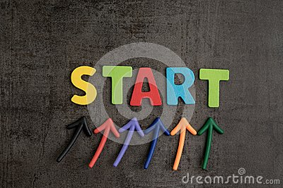 Business start begin the journey concept, colorful arrows point