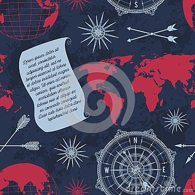 Seamless pattern with vintage globe, compass, world map and wind rose.