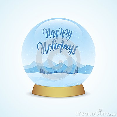 Happy Holidays. Snow globe with winter mountains landscape isolated on light blue background.