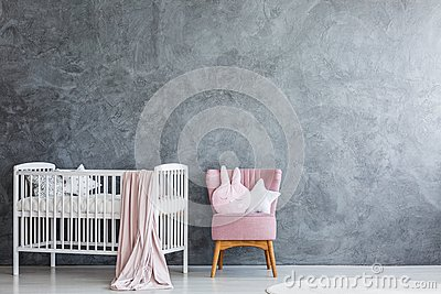 Baby room with white crib