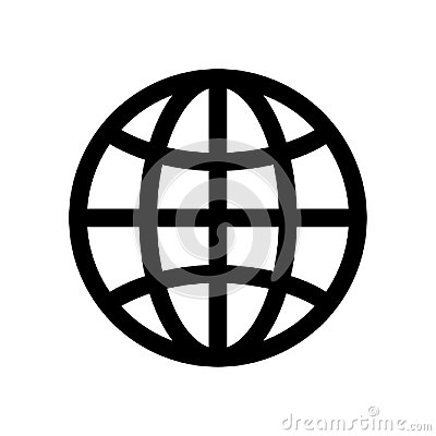 Globe symbol. Planet Earth or internet browser sign. Outline modern design element. Simple black flat vector icon with
