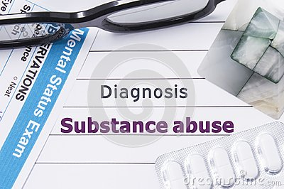 Diagnosis Substance Abuse. Medical notebook labeled Diagnosis Substance Abuse, psychiatric mental questionnaire and pills are on t