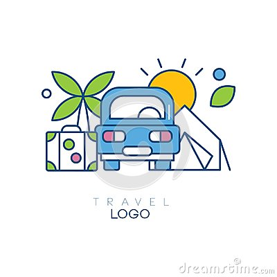 Creative hobby logo template for travel blog. Emblem with car, palm tree, sun and suitcase. Linear icon with blue, green
