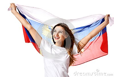 Happy russian soccer fan with national flag shouting celebrating or yelling