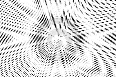 Black white dotted halftone. Half tone vector background. Centered smooth dotted gradient.