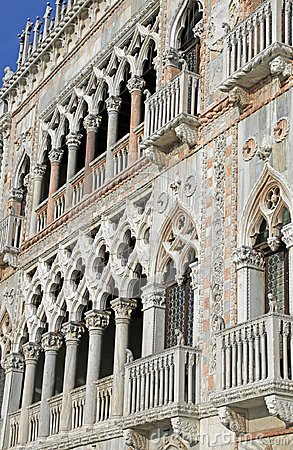 Venice, Italy - December 31, 2015: detail of a Palace called C