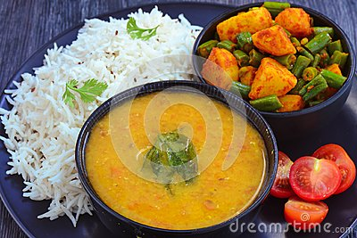 Indian meal - Mung dal lentil, rice and beans curry