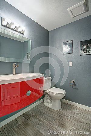 Grey and red bathroom design in a freshly renovated home.