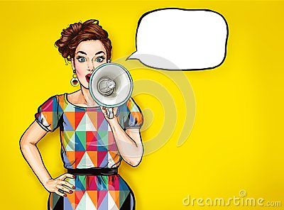 Pop art girl with megaphone. Woman with loudspeaker.