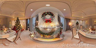 Christmas interior with a fireplace. 3d illustration of an inter