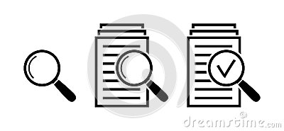 Magnifying glass icon set, search documents signs