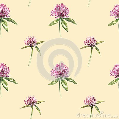 Clover leaf and flowers hand drawn seamless pattern watercolor illustration. Happy Saint Patricks Day.