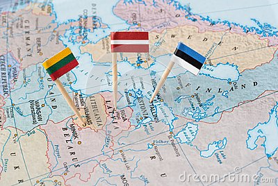 The Baltic states map with flag pins