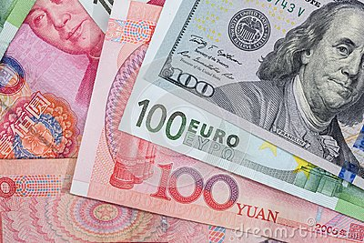 Foreign currency banknotes as background.