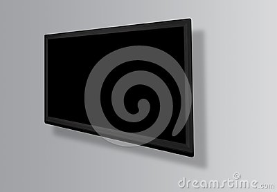 stock image of led or lcd tv screen hanging on the wall